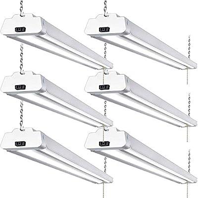 Hykolity 5000K LED Shop Light Linkable, 4FT Daylight 42W LED Ceiling Lights for Garages, Workshops, Basements, Hanging or FlushMount, with Plug and Pull Chain, 4200lm, ETL- 6 Pack