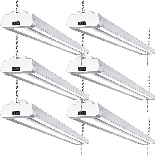 6 Pack 4FT LED Shop Light, Linkable Utility Shop Lights, 42W, 5000K Daylight White Shop Light for Garages, Workshops, Basements, Hanging or FlushMount, with Power Cord and Pull Chain, ETL