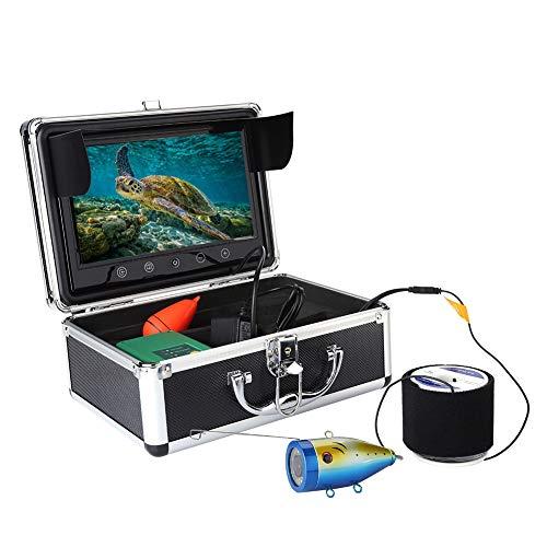 Cámara de buscador de pesca de 9 pulgadas, 30IR Leds 1000 TVL Monitor LCD Buscador de pesca submarina, Buscador de artículos de profundidad a prueba de agua 50M - Hasta 8 horas de tiempo de espera(EU)