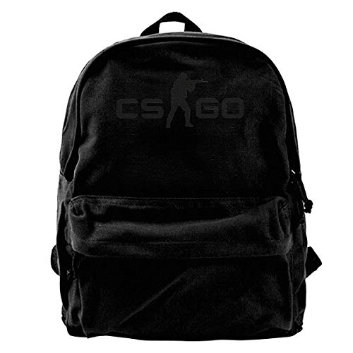 Mochila de tela, Canvas Backpack CS-go Logo Innovative Neutral Minimalist Style Black One Size