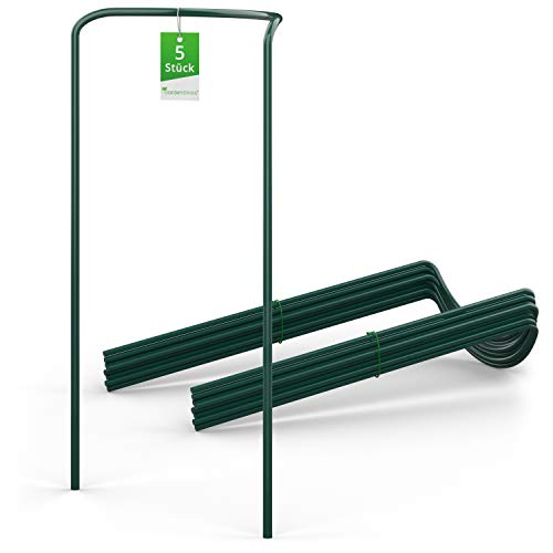 GardenGloss® Strauchstützen aus beschichtetem Stahl (5 Stück) - Staudenhalter halbrund 70cm x 40cm - Blumenstütze für Hortensien und Rosen - Pflanzenstütze aus Stahl