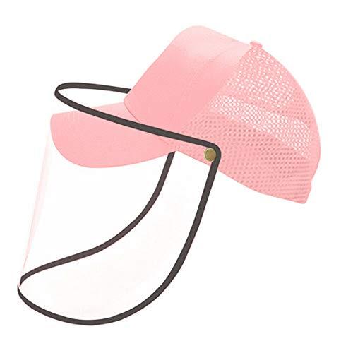 VVM TECH LTD Unisex Hut Mit Gesichtsschutz/Baseballkappe Mit Visier Gesichtsschutz, Spuckschutz Gesicht Sonnenschutz für Männer und Frauen, Outdoor-Sport, Wandern, Radfahren (Rosa)