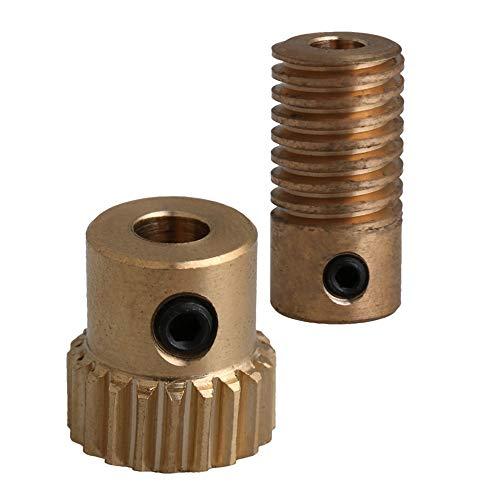 CNBTR 0.5 Modulus Brass Worm Reducer 20 T Wore Gear Wheel + 4mm Bore Worm Gear Shaft
