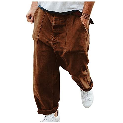 MARIJEE Pantalones deportivos de gimnasio para hombre, sueltos estilo retro de la calle, de color liso, pantalones de talla grande, pantalones casuales para correr, entrenamiento (marrón, XXL)