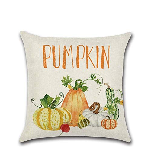 ZHANGDA Happy Fall Pumpkin Car Printed Pillow Cushion Cover Square Throw Pillowcase Sofa Home Thanksgiving Decor Accessories,02,450Mm*450Mm