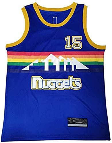 LUCKY Maglia da Basket Unisex da Uomo NBA Denver Nuggets 15# Jokic Retro Jersey,S