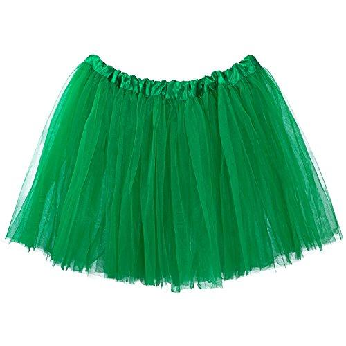 My Lello Adult Tutu Skirt, Classic Elastic 3 Layer Tulle Tutu for Women and Teens - Emerald