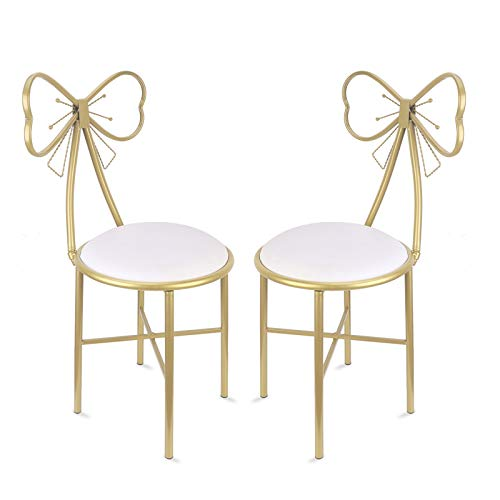 Pack of 2 Butterfly Dressing Table White Leather Chair Nordic Creative Butterfly Chair Girl Heart Theme Makeup Chair Bedroom Chair for Home Furniture,Manicure store,Fashion shop,Window Decoration