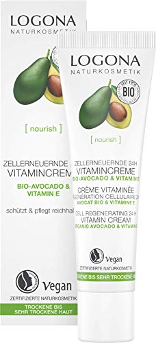 LOGONA Naturkosmetik Zellerneuernde 24h Vitamincreme, Schützt die Haut vor Umweltstress, Fördert die Zellerneuerung, Vegan, 30ml