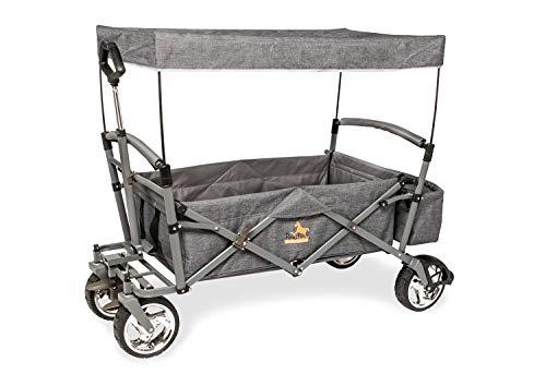 PINOLINO 238075 Klappbollerwagen 'Pogo' mit Bremse, grau meliert, Schwarz