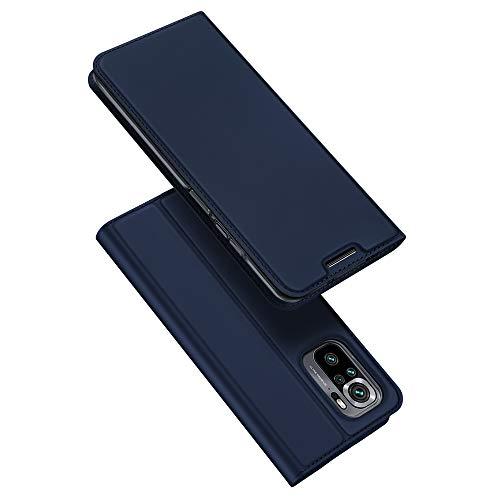 DUX DUCIS Cover Xiaomi Redmi Note 10 4G / Note 10S, Flip Caso Custodia Pelle PU con [Funzione Stand] [Slot Cart] [Magnetica] per Xiaomi Redmi Note 10 4G / Note 10S (Blu)