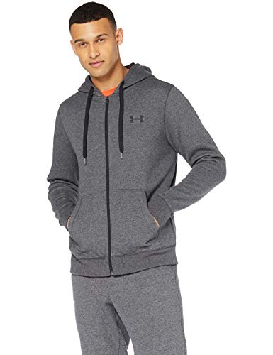 Under Armour Herren Rival Fitted Full atmungsaktive Sweatjacke mit durchgehendem Zip, komfortable Strickjacke mit enganliegender Passform, Grau (Carbon Heather), L