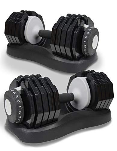Nomad Fitness Adjustable Dumbbells Set 2.5kg-25kg Selectable Dial 10...
