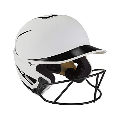 Mizuno F6 Adult Fastpitch Softball Batting Helmet with Mask, White-Black, Small/Medium