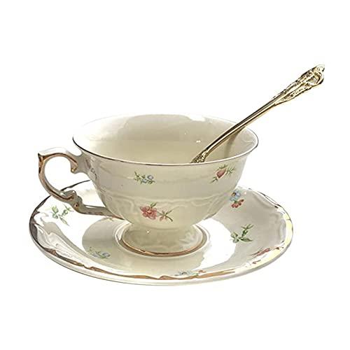 WPJ Tazas Taza de té y platillo Set de 6,8 oz Taza de café de Porcelana Vintage Cerámica de cerámica de cerámica con platillo y Cuchara Decoración de Borde de Oro, Blanco Tazas de café