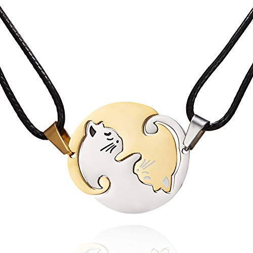 Pair Cat Couple Necklace Stainless Steel Ying Yang Friendship Cute Pet Cat Pendant for Lover Friend Family (Gold)