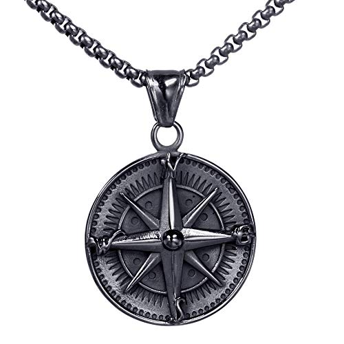 PAURO Men's Stainless Steel Vintage Round Compass Pendant Punk Necklace Black with Chain