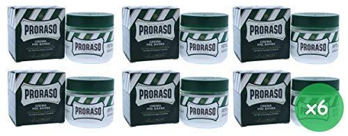 6x PRORASO creme preshave cream 100ml mit Eukalyptusöl und Menthol Grün