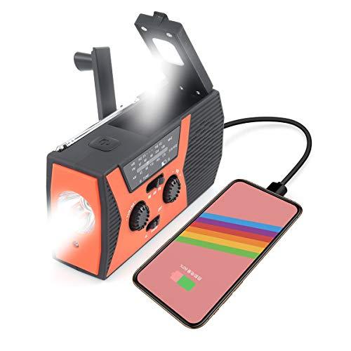 Welltop FM NOAA Portatile Radio a Manovella con power bank da 2000 mAh, torcia elettrica e luce di lettura, jack per cuffie da 3,5 mm, allarme SOS per escursionismo in campeggio
