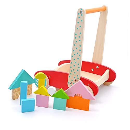 Trotteur For les enfants 1-3 Ans Bois Blocs bébé Poussez Walker Step Aide Au début de jouets éducatifs Puzzle avec roues Pousser l'éducation pour tout-petits ( Couleur : Rouge , Taille : 34x28x41cm )