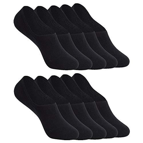YOUCHAN Sneaker Socken Damen Herren Füßlinge 10 Paar Footies Unsichtbare Kurze No Show Socken Großes Silikonpad Anti Rutsch_Schwarz_47-50