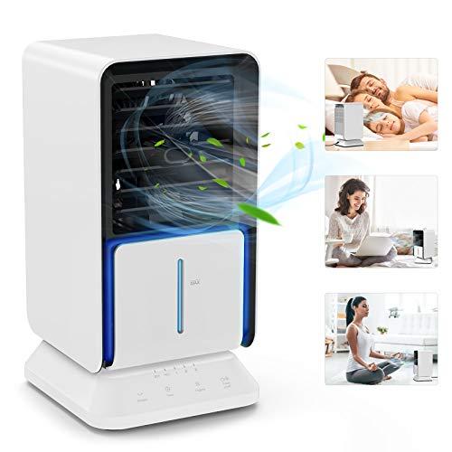 Condizionatore Portatile, TedGem Mini Condizionatore, Mini Raffreddatore D'aria Scuotere la Testa a Sinistra e Destra a 45 °, 3 in 1 Ventilatore/Umidificatore/Condizionatore, per Ufficio, Casa