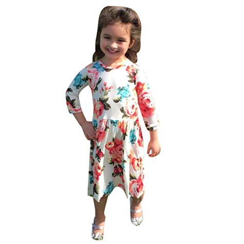 Malloom-Bekleidung Malloom-Bekleidung Mom ? Me Baby-Mädchen-Dreiviertel-Blumendruck-Kleid Family Outfits Clothes Eltern-Kind-Kleidung