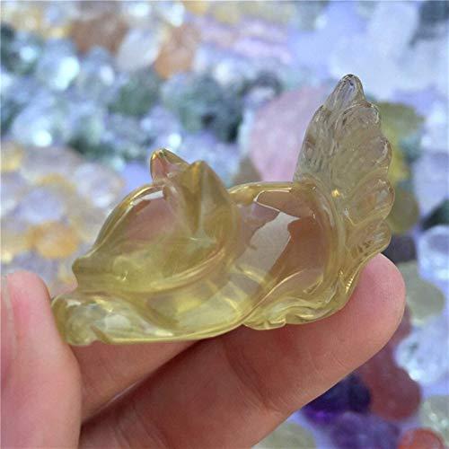 DANHUI Bonito y Bonito Cristal de Cuarzo Citrino Natural Zorro Hecho a Mano Tallado Cristal Amor Piedra Moda Tallada Animal figurita Regalos