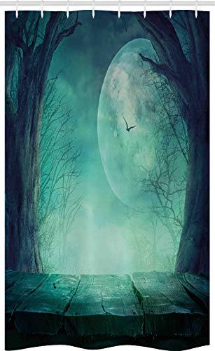 ABAKUHAUS Teal Schmaler Duschvorhang, Spuk Wald Halloween, Badezimmer Deko Set aus Stoff mit Haken, 120 x 180 cm, Teal