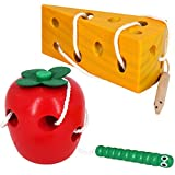 Early Development Toys Wooden Lacing Toys, Montessori Activity Caterpillars Eat Apple and Kids...