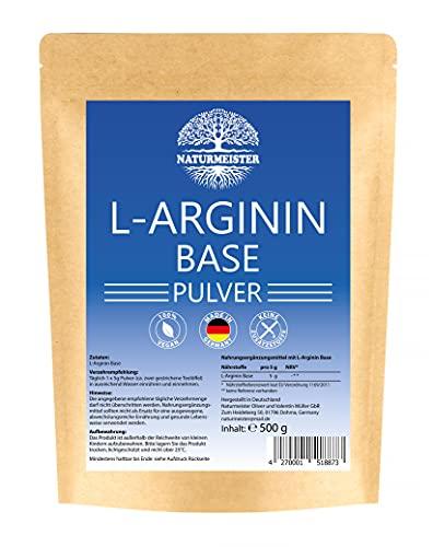 L-Arginin Base Pulver 500g - EINFÜHRUNGSPREIS - Vegan - Made in Germany - ohne Zusätze - Laborgeprüft