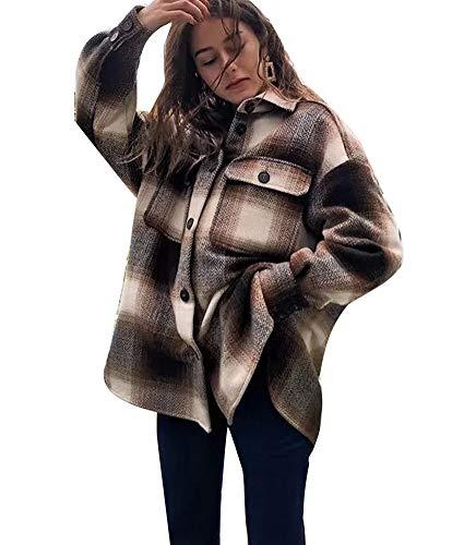 ORANDESIGNE Braun Kariertes Knöpfen Taschen Oversize Bluse Mantel Jacke Hemdjacke Holzfällerjacke Damen Mode