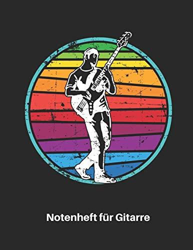 Notenheft für Gitarre: Retro E Gitarren Notenbuch 110 Seiten mit leeren Tabs und Akkord Feldern. Tolle Geschenk Idee für Gitarristen, Gitarren Lehrer und Schüler.