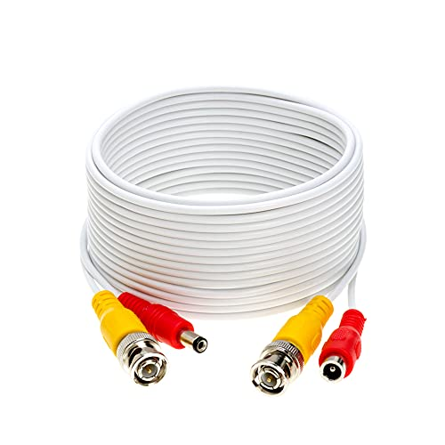 100FT White Premade BNC Video Power Cable/Wire for Security Camera, CCTV, DVR, Surveillance System, Plug & Play (White, 100)