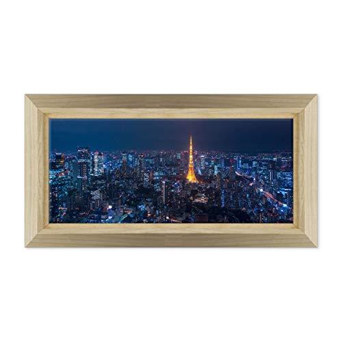 ConKrea Quadro PANORAMICO su Tela Canvas INTELAIATO - con Cornice - Tokyo Giappone - Metropoli - 40x100cm - Stile Design Legno Naturale - (cod.6685)