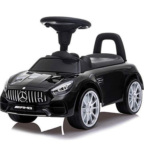 Stimo Mercedes Benz GT AMG Rutschauto (offiziell lizenziert) mit Panamericana - Grill und Flüsterreifen Kinder Fahrzeug Rutscher Auto (SCHWARZ)