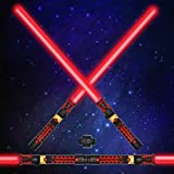 Light Up Saber 2-in-1 LED FX Dual Red Light Swords Set with Sound (Motion Sensitive) and Realistic Handle for Halloween Costume Accessories, Xmas Presents, Galaxy War Fighters and Warriors
