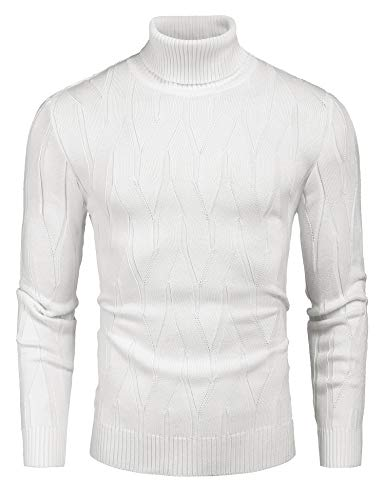 COOFANDY Men's Slim Fit Turtleneck Sweater Casual Knitted Pullover Sweaters Off White