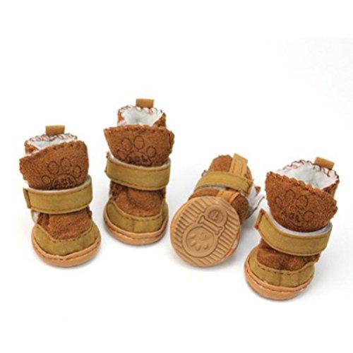 4pcs Chaussures Antidérapantes pour Chien bottes chaudes d'hiver pour animaux de compagnie avec Bande Réfléchissante Taille M (Café)