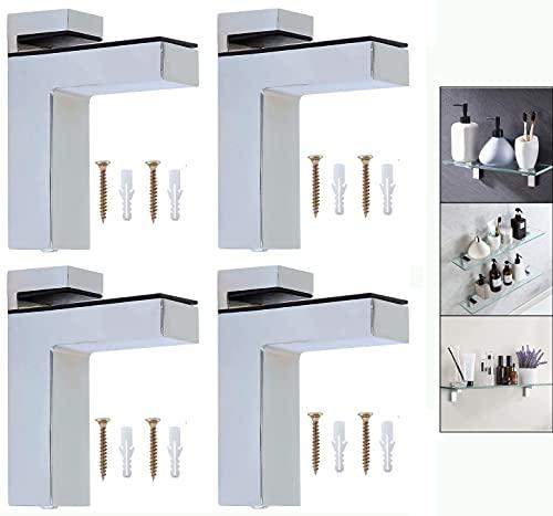 Litens H 4pcs abrazadera de madera ajustable soporte de estante de vidrio, soporte de aleación de zinc sólido soporte de pared para estante de 5-30mm de espesor