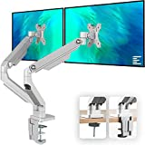 EleTab Dual Arm Monitor Stand - Height Adjustable Desk Monitor Mount Fits for 2 Computer Screens 17...