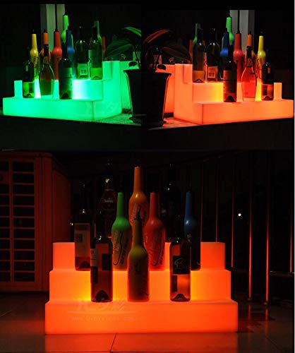 YLEI Vino de Almacenamiento en Rack, LED Iluminado Botella de Licor Estante de exhibicion 3 Nivel, for la Barra de la Cocina Adornos Decorativos