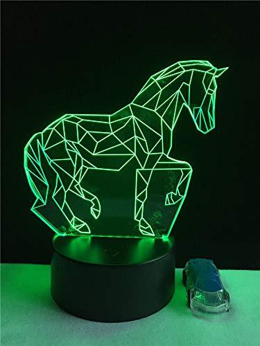 3D illusie lampen dier galopperend paard 7 kleuren LED nachtlampje touch-schakelaar USB gebruik tafellamp kinderen bedlampje kerstcadeau verjaardagscadeau
