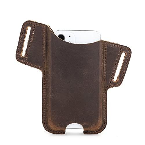 Hiram Funda de piel de grano completo para teléfono celular, 5.4 pulgadas para hombre, funda universal para teléfono, funda vintage con correa para cinturón-CF9026Coffee