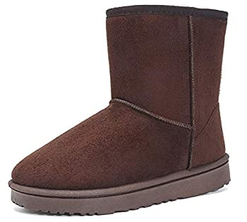 EasyMy Womens Classic Short Snow Winter Boots Coffee 6 US