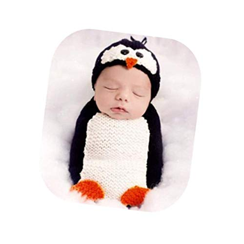 Newborn Baby Photo Props Outfits Penguin Sleeping Bag for Boy Girls Photography Shoot White