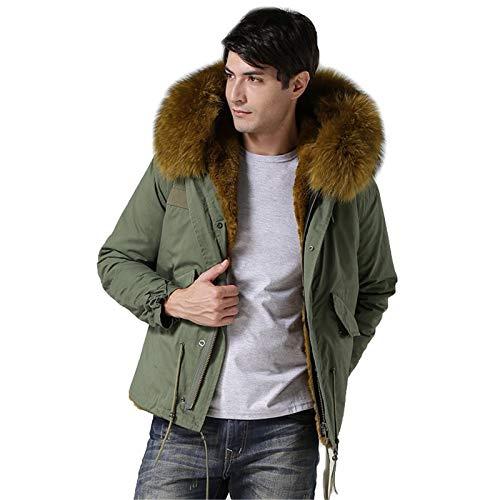 CMYA Chaqueta de Estilo Corto para Hombre Abrigo de Piel sintética cálido de Invierno de Moda Abrigo Parka de Cuello de Mapache de imitación,XL