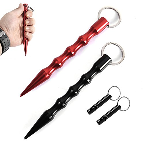 KUNFO 2 Stück (Doppelpack) Kubotan Ergonomischem Griff Und Schlüsselring (Schwarz/Rot)