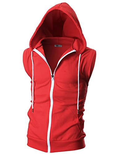Ohoo Mens Slim Fit Sleeveless Lightweight Zip-up Hooded Vest With Single Slide Zipper/DCF012-RED-XXL