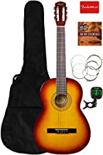 Fender Squier Classical Acoustic Guitar Bundle with Gig Bag, Tuner, Strings, Fender Play Online Lessons, and Austin Bazaar Instructional DVD - Sunburst